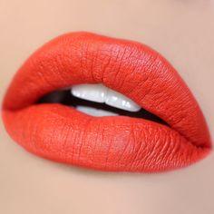Bootie orange red Matte X Lippie Stix swatch