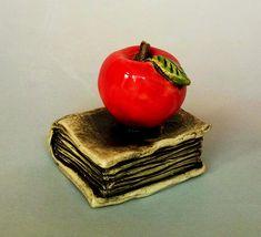 IziSculptures Apple&Book, ceramic sculpture, art sculpture, clay figurine, ceramic figurine, art ceramics, ceramic doll