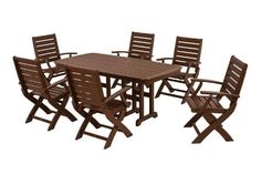 POLYWOOD® Signature 7-Piece Dining Set by POLYWOOD®. $2819.93. Set includes six 1900 Signature Folding Chairs and one NCT3772 Nautical 37in x 72in Dining Table. Available in 4 attractive- fade-resistant colors. Commercial grade stainless steel hardware. Eco-friendly production with over 90% recycled materials. Made in the USA. Signature 7-Piece Dining Set in Mahogany