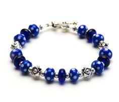 Blue and White Polka Dot Lampwork Glass Bracelet  by lilicharms, $42.00