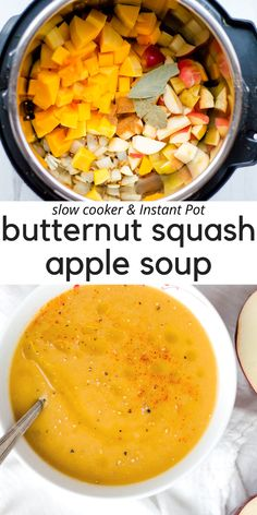 This Slow Cooker / Instant Pot Butternut Squash Soup recipe is quick, easy, and so delicious! Naturally gluten free, vegan, and Paleo. A cozy soup that is full of flavors that the whole family will enjoy! Vegan Butternut Squash Recipes, Butternut Squash Apple Soup, Roasted Squash Soup, Butternut Squash Soup Crockpot, Winter Squash Soup, Soup Recipes, Real Food Recipes, Whole30 Recipes, Family Recipes
