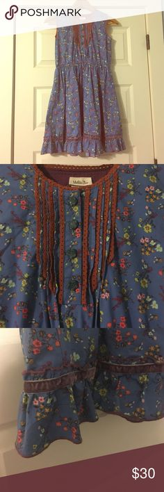 Matilda Jane Forget Me Not Dress Blue floral print dress with button details, lace and velvet trim. Worn a handful of times. Great condition. Matilda Jane Clothing Dresses Casual