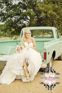 Bridal portrait with old truck. Shabby Chic Barn Wedding. Photography: www.TheAthensWeddingPhotographer.com  Planning, Floral, and Event Design: www.WildFlowerEventServices.com Venue: The Barn on Belmont Bride's Makeup:  www.BombshellCreations.com