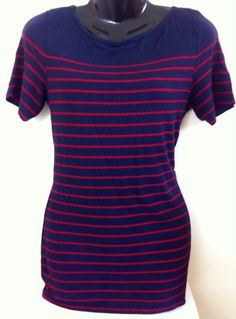 New - Womens OASIS Navy Blue Short Sleeve Top with Red Stripes Size 12 - £9.95