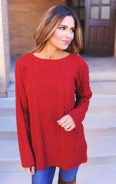 1e1bd6ac35eca Burgundy Cable Knit Sweater - Dottie Couture Boutique