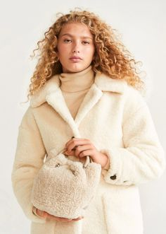 MANGO - Faux shearling bucket bag beige - One size - Women Mango France, Beige, Mango Fashion, Manga, Short, Bucket Bag, Latest Trends, Fur Coat, Sacks