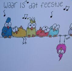 Waar is het feestje? birdies hebben een feestje Where is the party - funny birds Design: A Second Life (The Netherlands) Comic Book Girl, Animal Doodles, Funny Birds, Happy Paintings, Doodle Designs, China Painting, Book Projects, Doodle Drawings, Watercolor Cards