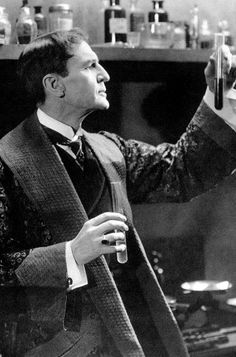 William Gillette as Sherlock Holmes in 1916 . . . He was the first movie actor to play Holmes, but before that he played him on stage, assuming the role more than 1,300 times over thirty years in the theatre.