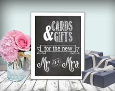 Cards & Gifts Wedding Sign Chalkboard Printable by justforkeeps, $10.00