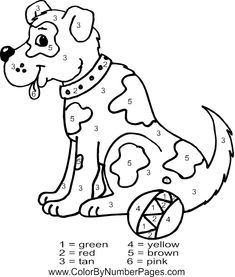 online dog animal color by number free coloring page printable