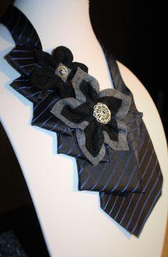 Black & Blue Statement Necklace | Necktie | Handmade | Felt Paper Flowers | Repurposed