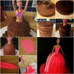 This beautifully decorated cake will make your little girl feel like a princess. It is easy to make . --- Supplies Needed: Barbie Princess Cake Decorating Barbie Birthday Cake, Barbie Party, Girl Birthday, Funny Birthday, Birthday Cakes, Bolo Barbie, Barbie Dolls, Doll Cake Tutorial, Bolo Diy