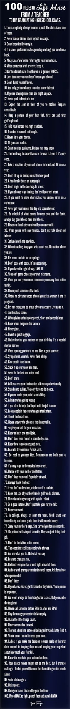 100 Pieces of Life Advice