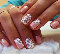 Beautiful delicate nails, Ideas of gentle nails, Lace nails, Lacy nails, Nacre nails, Nails with curls, Pale pink nails, Pearl nails Más