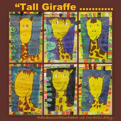 Giraffe bulletin board. Article filled with zoo and jungle animal Art projects. What's your favorite animal at the zoo?