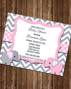 Elephant Baby Shower Invitation by LilMsSassyDesigns on Etsy, $5.00