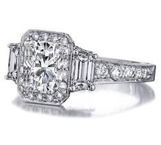 Fancy - Engagement Ring - Cushion Cut Diamond Engagement Ring Trapezoids sides graduated pave band