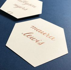 Geometric placecard - copper and cream hexagon place card - calligraphy Wedding Seating Display, Wedding Table Assignments, Place Card Calligraphy, Wedding Calligraphy, Two Dots, Beautiful Calligraphy, Wedding Place Cards, Autumn Wedding, Wedding Designs