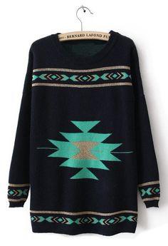 Black Round Neck Long Sleeve Geometric Print Sweater
