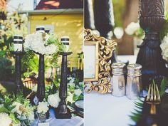 Wizard of Oz Wedding Inspiration / black & white / green blooms / tablescaping and floral design by PANACEA event floral design / Sarah Kathleen Photography
