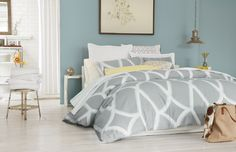 Soft grays and aquas add a light and airy look to any room