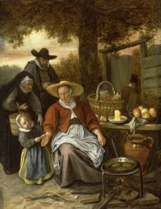 The Pancake Woman - Jan Steen. Oil on canvas. Memorial Art Museum, University of Rochester, Rochester NY, USA. 17th Century Fashion, University Of Rochester, Medieval Life, Medieval Market, Dutch Golden Age, Dutch Painters, Dutch Artists, Gravure, Painting & Drawing