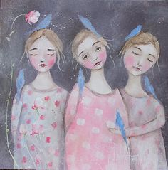 "Look! Love this painting!  whimsical portrait, girls, floral, birds painting 12x12"" k d milstein PFATT  http://www.ebay.com/soc/itm/160977946000 Direct from the Artist , Paintings eBay"
