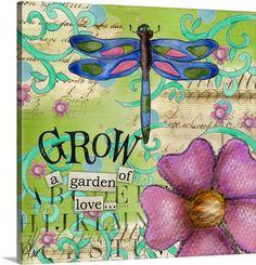 Lisa Kaus Solid-Faced Canvas Print Wall Art Print entitled Inspiration Garden - Dragonfly Grow, None Canvas Wall Art, Wall Art Prints, Poster Prints, Art Journal Pages, Art Journaling, Art Journal Inspiration, Journal Ideas, Heart Art, Whimsical Art
