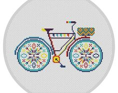Colorful Bicycle Cross Stitch Pattern PDF Hoop art by Xrestyk Modern Cross Stitch Patterns, Cross Stitch Designs, Cross Stitching, Cross Stitch Embroidery, Modern Baskets, Tiny Cross Stitch, Sewing Projects For Kids, Dmc Floss, Bicycle