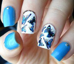Everything blue. #nails #nailart #pbutterflies #kkcenterhk