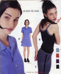 From Delia's Fall 1996 Catalog. My mom recreated this blue dress exactly. So many memories! Fashion Mag, 90s Fashion, Retro Fashion, Vintage Fashion, Fashion Outfits, Fashion Trends, Early 2000s Fashion, Moda Vintage, Fashion Catalogue