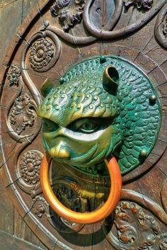 Bronze door knocker - fantastic color patinas!