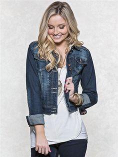 zoom image of Dark Denim Jacket Dark Denim Jacket, Clothes For Women, 2016 Pictures, Jackets, Shopping, Favorite Things, Black, Vanity, Tops