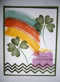 Patricks Work of Art card St Patricks Day Cards, Saint Patricks, Diy Holiday Cards, St Paddys Day, Luck Of The Irish, Stamping Up Cards, Card Sketches, Cool Cards, Greeting Cards Handmade