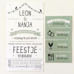 Trouwkaart Leon & Nanja - - www. Wedding Party Invites, Laser Cut Wedding Invitations, Printable Wedding Invitations, Wedding Cards, Party Invitations, Greek Wedding, Wedding Prep, Wedding Save The Dates, Wedding Shit