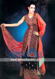 Ciara Lehenga, Product code: DR3456, by www.dressrepublic.com - Keywords: Black Bridal Dress, Black Bridal Lehenga, Black Pakistani Designer Lehenga Shop