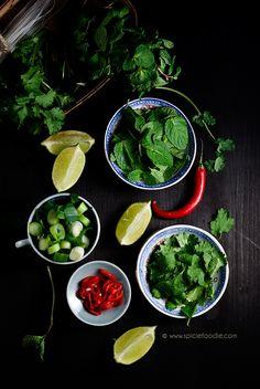 Lime, Cilantro & Mint Leaves, Scallion Slices~