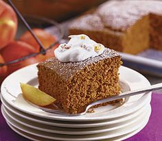 Gingerbread Cake with Peach Whipped Cream, interesting recipe with oat- and whole-grain pastry flour, from the Panera Bread site. Looks good.