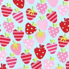 Strawberries in Red, Aqua and Pink. xo