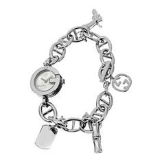 Pre-owned Gucci Stainless Steel 107 G-Series Charm Bracelet 22mm... ($185) ❤ liked on Polyvore featuring jewelry, watches, stainless steel jewelry, pre owned fine jewelry, white jewelry, preowned watches and holiday jewelry