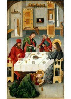 Die Hl. Maria Magdalena salbt Christus die Füße (Gemälde, Altarflügel)  Inventarnummer: Gm1463  Hersteller: Mälesskircher, Gabriel (nachgewiesen um 1459/60 bis 1495)  Datierung: wohl 1476