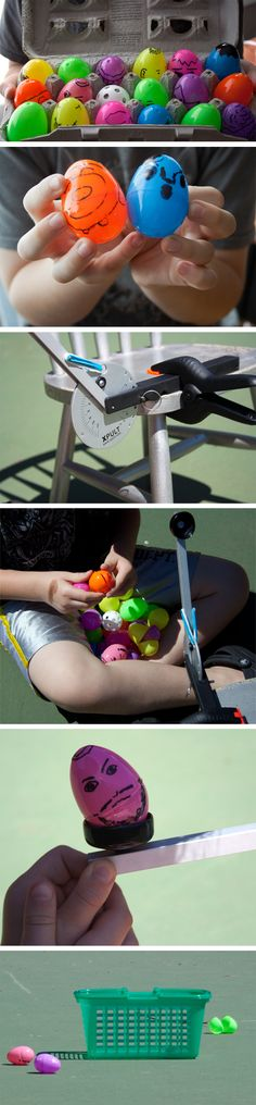 """Family Fun with Physics: Launching Plastic Eggs with the Ping Pong Catapult"": a family spin on a favorite #science #physics kit! [Source: Science Buddies, http://www.sciencebuddies.org/blog/2014/04/family-fun-with-physics-launching-plastic-eggs-with-the-ping-pong-catapult.php?from=Pinterest] #STEM #familyscience #scienceproject #egg #Easter"