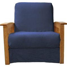 Epic Furnishings LLC Nantucket Chair Sleeper Bed Upholstery: Suede Dark Blue, Frame Finish: Medium Oak Wood