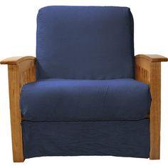 Epic Furnishings LLC Nantucket Chair Sleeper Bed Upholstery: Suede Dark Blue, Frame Finish: Medium Oak Wood