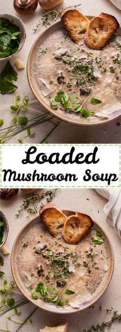 No more boring mushroom soup! This vegetarian creamy mushroom soup is loaded with flavorful toppings to make this classic even more delicious.
