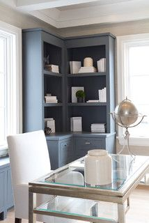 Super kitchen corner office built ins Ideas – Home Office Design Corner Office Built Ins, Built In Desk, Built In Cabinets, Built In Shelves, Glass Shelves, Wall Shelves, Corner Cabinets, Office Cabinets, Blue Shelves