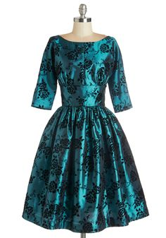 Posh at the Party Dress in Teal - Blue, Black, Floral, Special Occasion, Vintage Inspired, Fit & Flare, 3/4 Sleeve, Better, Woven, Long, Party, Pockets, Holiday Party, 60s, Exclusives, Variation