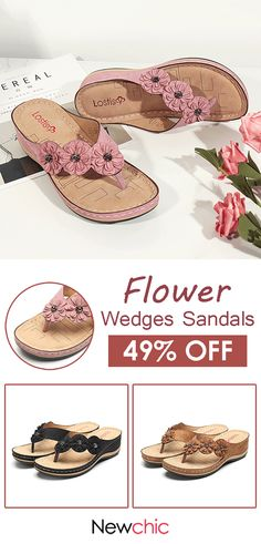 c3410f2171b64e  49% off LOSTISY Flower Clip Toe Beach Casual Holiday Wedges Sandals.