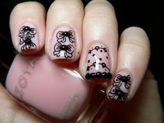 lace and vintage pink nail art