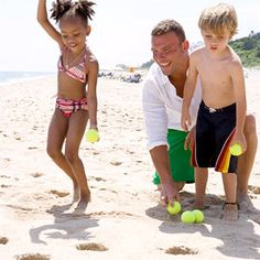 Beach Bowling Use a shovel to dig six holes in the sand in a pyramid configuration. Give the kids tennis balls to roll into the goals. - need tennis balls - lots of them Beach Kids, Summer Kids, Beach Fun, Beach Trip, Beach Party, Beach Babies, Fun Beach Games, Beach Activities, Activities For Kids